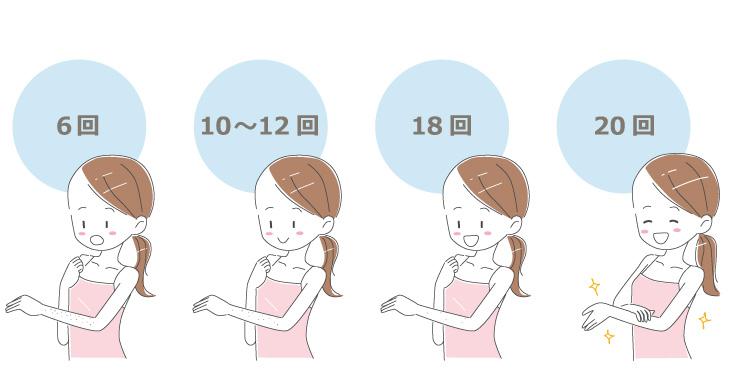 完全に毛を無くしたい場合は、18回~24回程の回数が必要